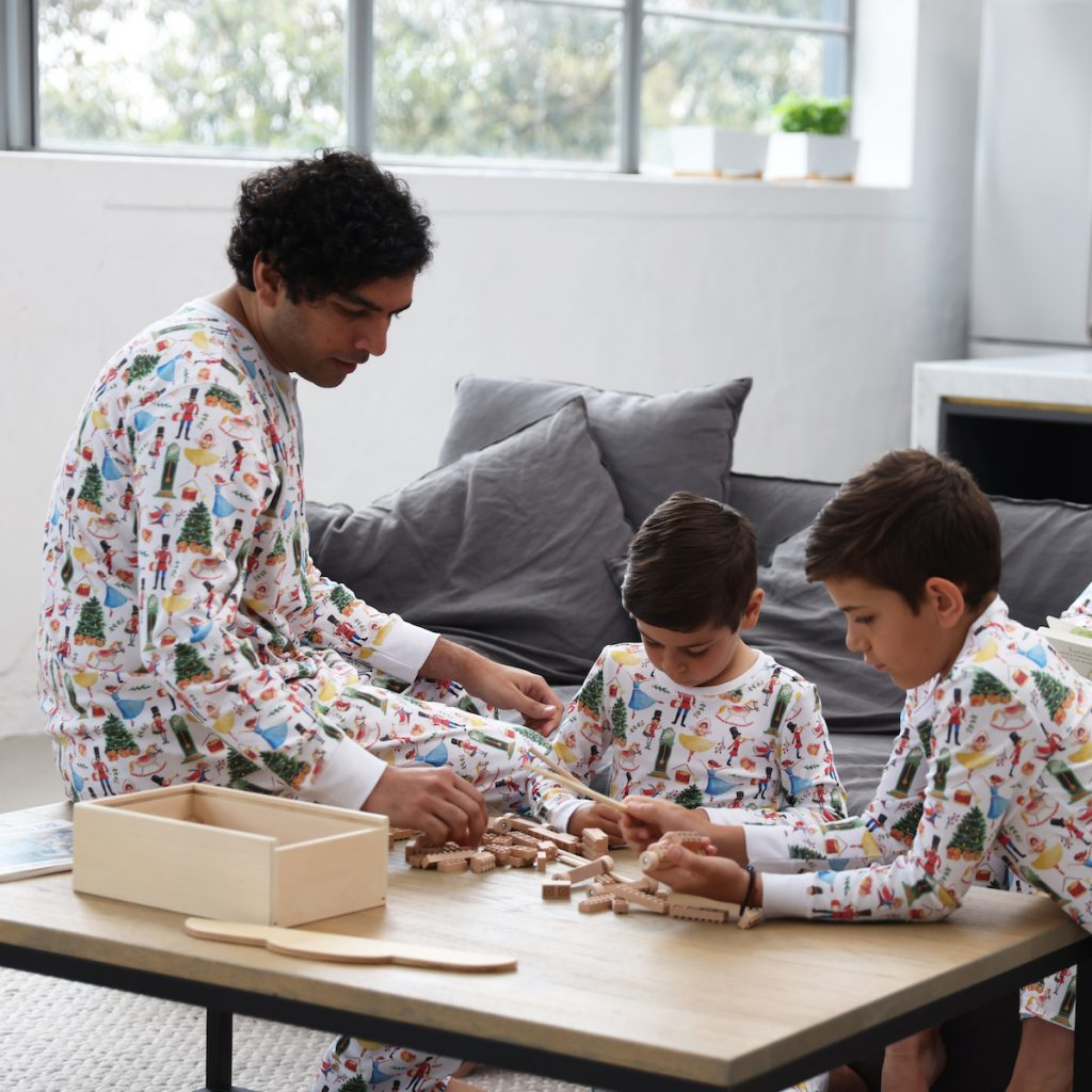 A dad and his sons wearing HART + LAND pima cotton PJ sets