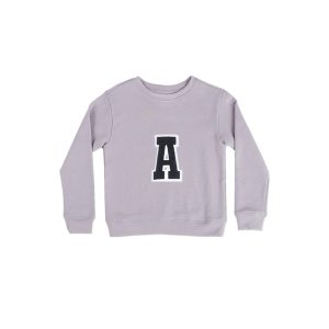 HART + LAND lavender organic cotton sweatshirt with an A patch