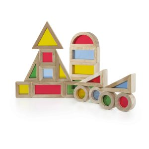 Guidecraft Jr Wooden Rainbow Blocks – 20 Piece