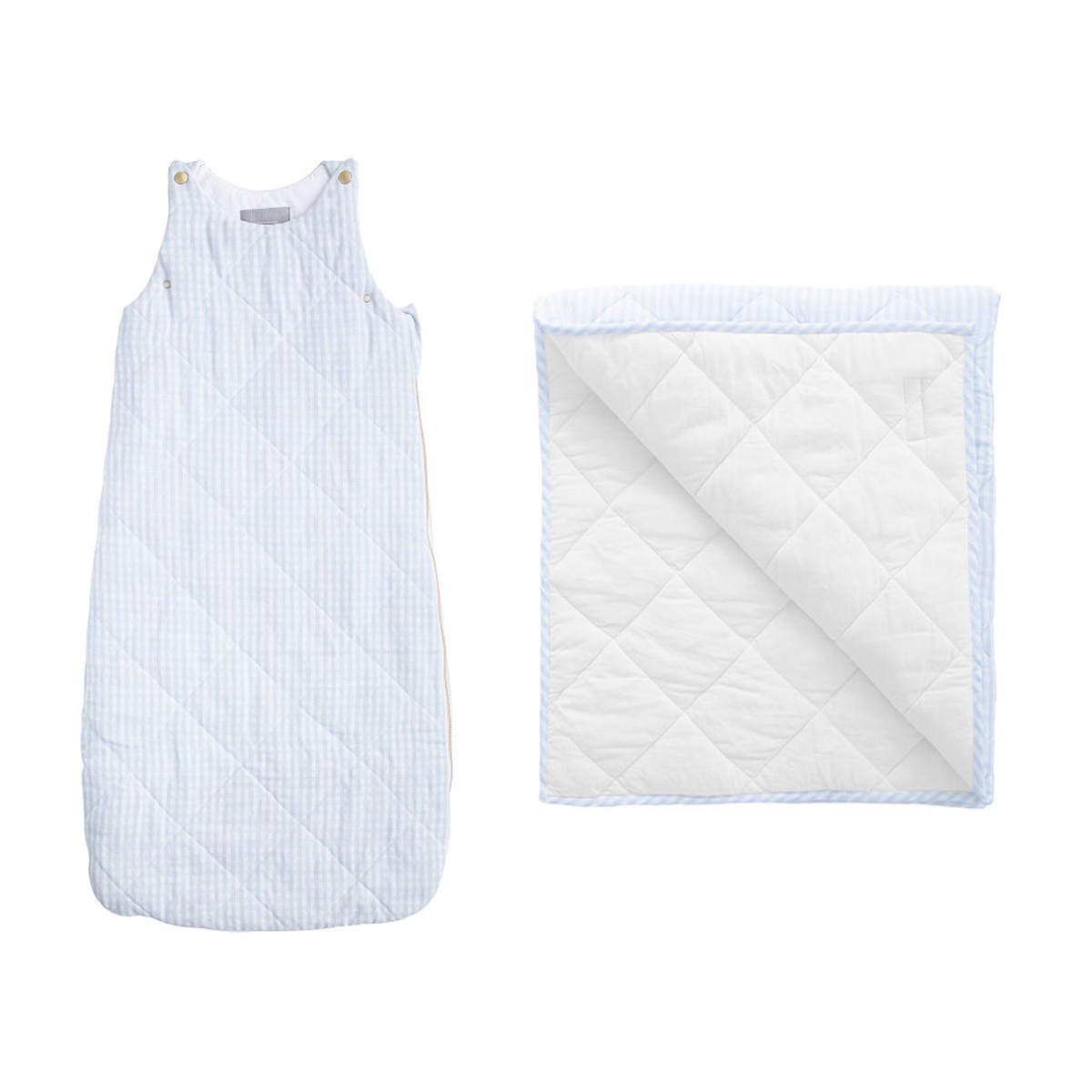 Louelle Playmat and Sleeping Bag Set – Pale Blue Gingham