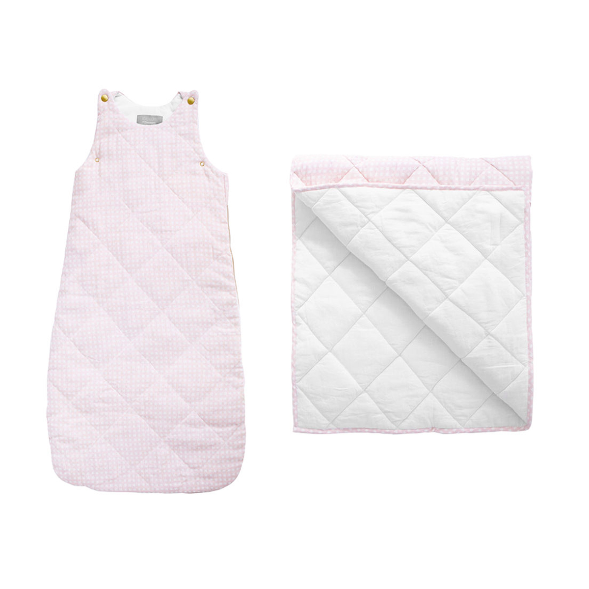 Louelle Playmat and Sleeping Bag Set – Dusty Pink Gingham