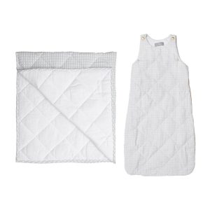 Louelle Play Mat and Sleeping Bag Set - Grey Gingham
