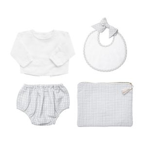 Louelle 4 Piece Newborn Set – Grey Gingham