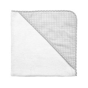 Louelle Hooded Towel – Grey Gingham