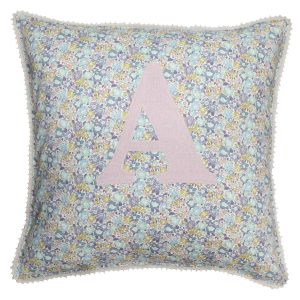 Coco & Wolf Liberty Fabric Personalized Pillow – Michelle Sea Green & Rose Linen