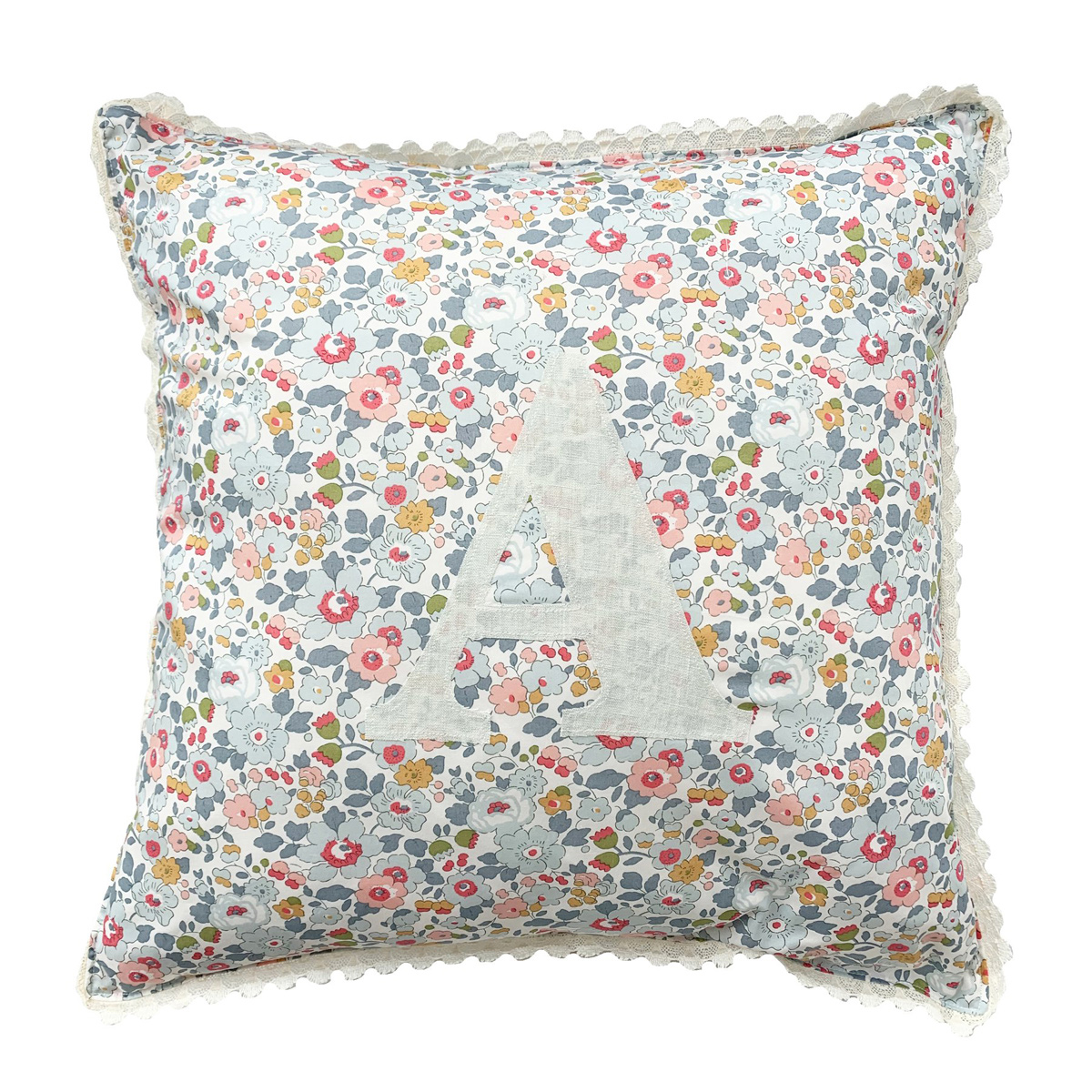 Coco & Wolf Liberty Fabric Personalized Pillow – Betsy Grey & Soft Mint Linen