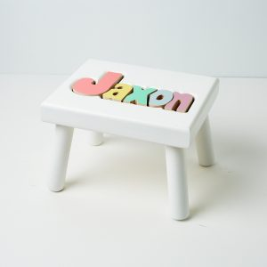 Hollow Woodworks Personalized Maple Puzzle Stool Bench - White