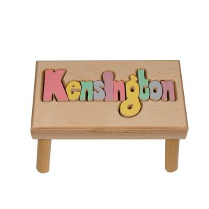 Hollow Woodworks Personalized Maple Puzzle Stool Bench – Natural Wood