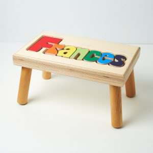 Hollow Woodworks Personalized Maple Puzzle Stool Bench - Natural Wood