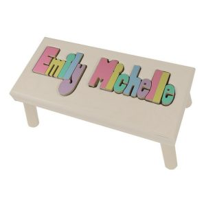 Hollow Woodworks Personalized Maple Puzzle Stool Bench Double Name – White