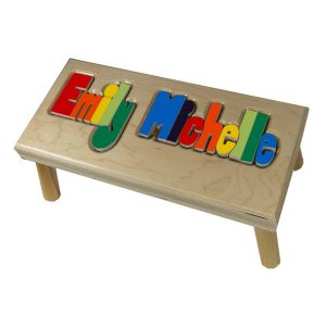 Hollow Woodworks Personalized Maple Puzzle Stool Bench Double Name – Natural Wood