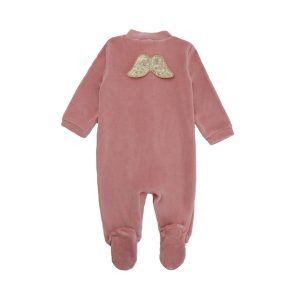 Marie-Chantal Baby/Toddler Velour Gold Angel Wing Sleepsuit