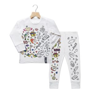 Selfie Clothing Co Toddler/Big Kid Color-In PJs – Valentines