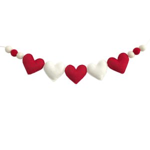 Sweet Felt Dreams Red & White Heart Garland