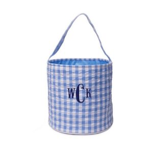 The Bella Bean Shop Personalized Easter Basket Bucket - Blue Gingham