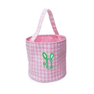 The Bella Bean Shop Personalized Easter Basket Bucket - Pink Gingham