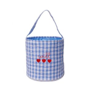The Bella Bean Shop Personalized Valentine's Day Bucket – Blue Gingham