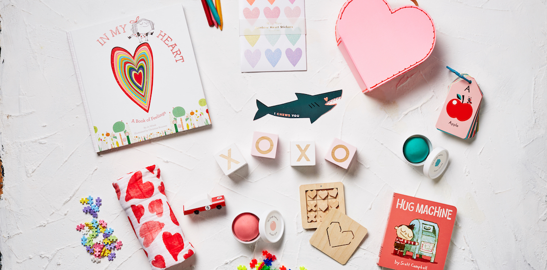 a flat lay of Valentine's Gifts for kids