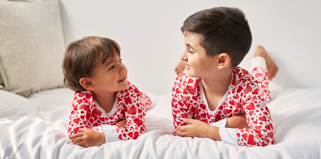 kids in matching valentines day pjs