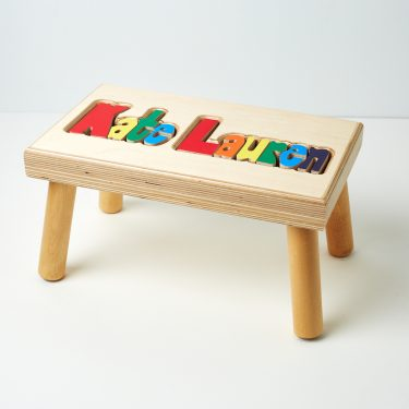 Hollow Woodworks Personalized Maple Puzzle Stool Bench Double Name - Natural Wood