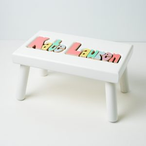 Hollow Woodworks Personalized Maple Puzzle Stool Bench Double Name - White