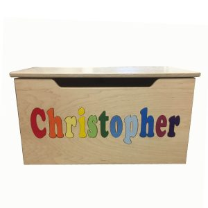 Hollow Woodworks Personalized Classic Maple Toy Box - Primary