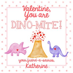 Hunny Bee Paperie Dino-mite Dinosaur Valentine Tag – Pink Dots