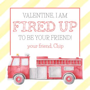 Hunny Bee Paperie Fired Up Firetruck Valentine's Day Card