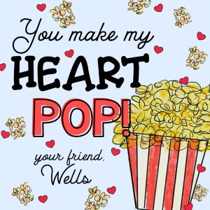 Hunny Bee Paperie Popcorn Valentine's Day Card - Blue