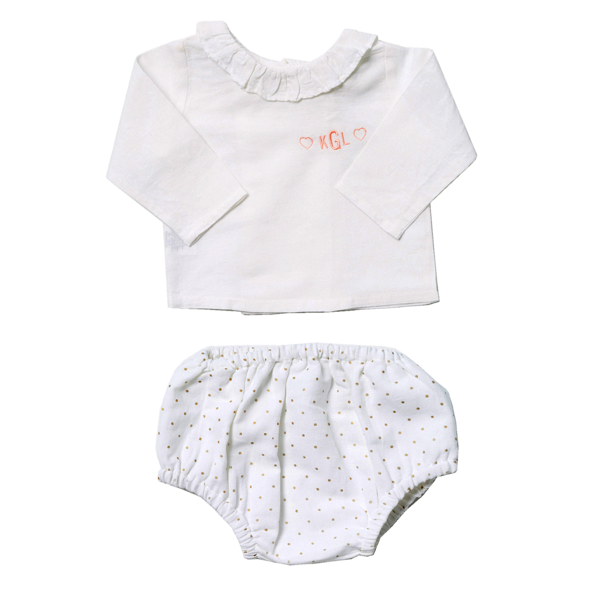 Louelle Personalized Valentine Outfit Set - Gold Dot