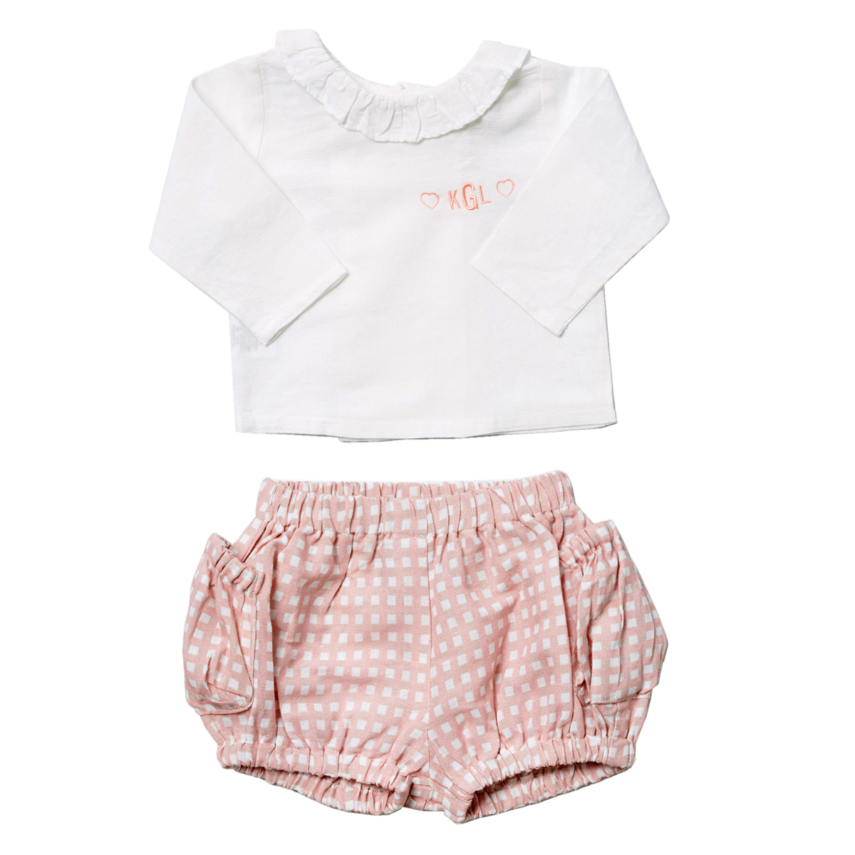 Louelle Valentine Outfit Set – Pink Gingham