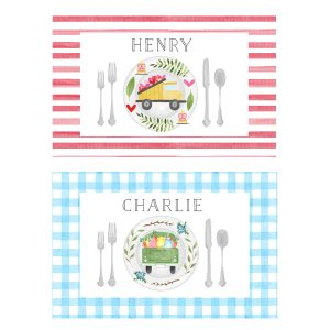 paper n peonies Personalized Reversible Valentine's Day/Easter Placemat - Truck
