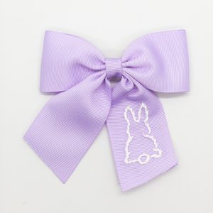Winn and William White Bunny Embroidered Bow