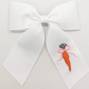 Winn and William Carrot Embroidered Bow