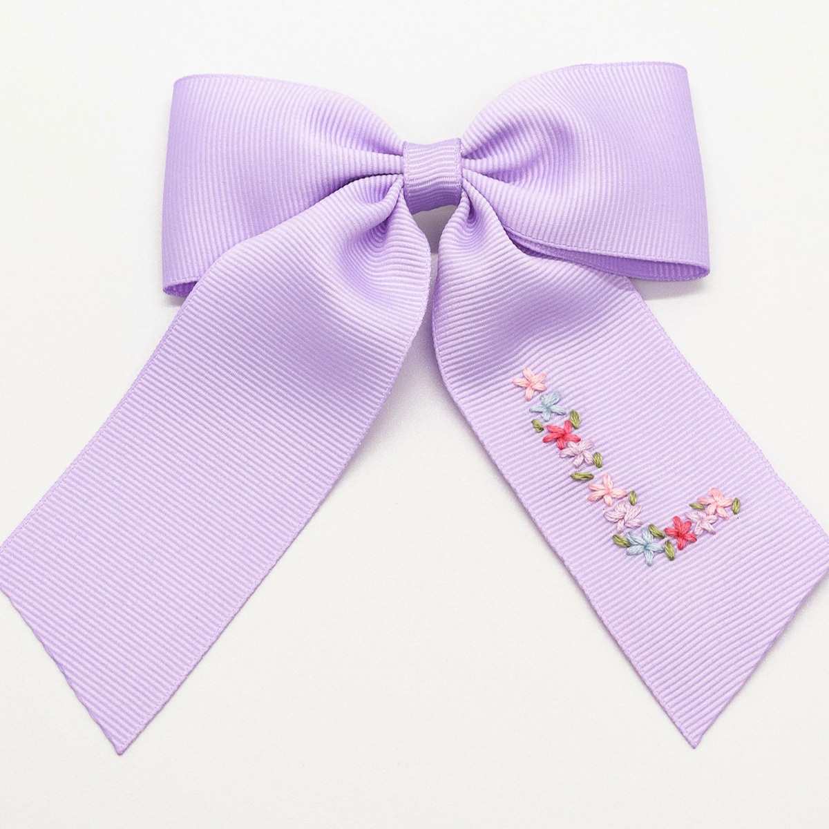 Winn and William Spring Floral Initial Embroidered Bow