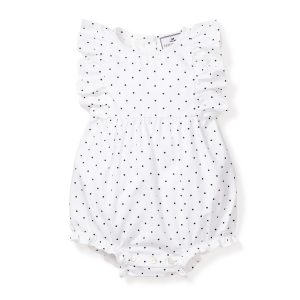 Petite Plume Baby Pin Dots Ruffled Romper Front