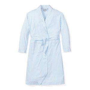Petite Plume Women's Light Blue Gingham Robe