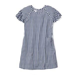 Petite Plume Women's Navy Gingham Hospital Gown