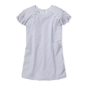 Petite Plume Women's Navy French Ticking Hospital Gown