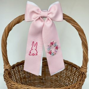 Winn and William Bunny + Floral Initial Easter Basket Bow