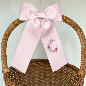 Winn and William Floral Initial Easter Basket Bow