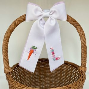 Winn and William Purple Bow Carrot + Floral Initial Easter Basket Bow