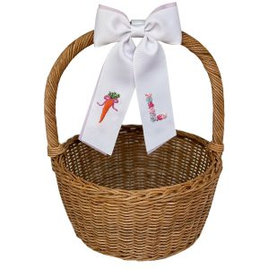 Winn and William Pink Bow Carrot + Pink Floral Initial Easter Basket Bow