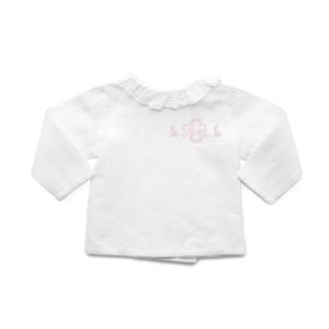 Louelle Monogram Easter Ruffle Neck Shirt