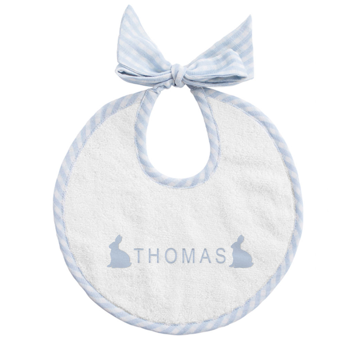 Louelle Personalized Easter Apron Bib - Blue Gingham