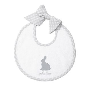 Louelle Personalized Easter Newborn Bib – Grey Gingham