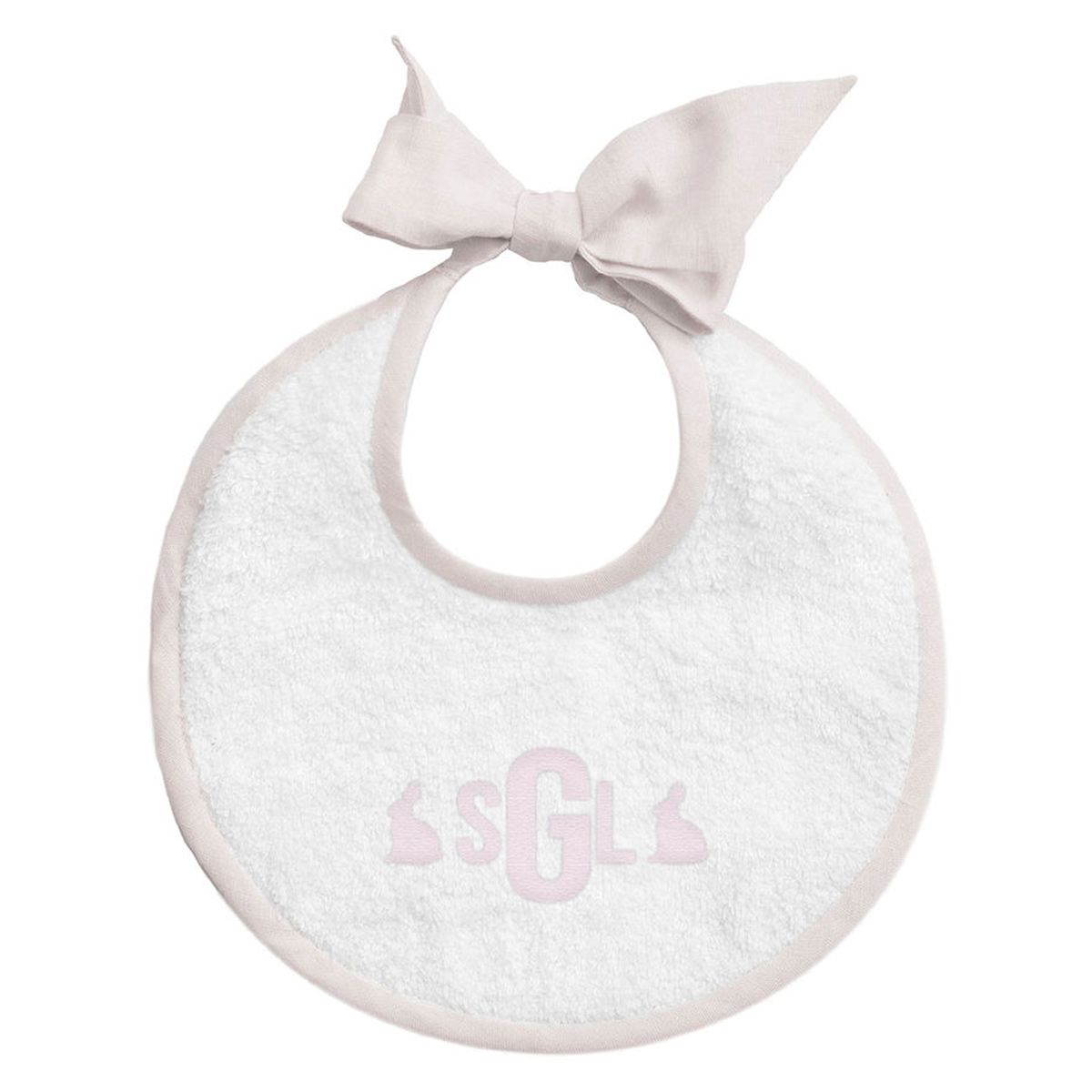 Louelle Personalized Easter Newborn Bib - Pink Gingham