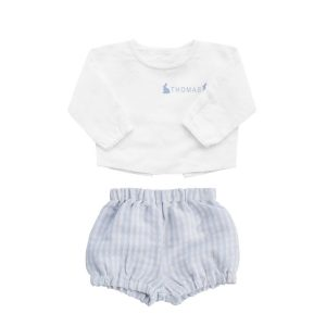 Louelle Personalized Easter Outfit Set - Blue Gingham