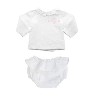 Louelle Personalized Easter Outfit Set - White