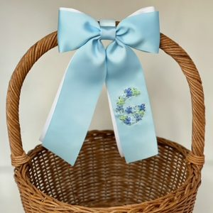 Winn and William Blue Floral Initial Easter Basket Bow